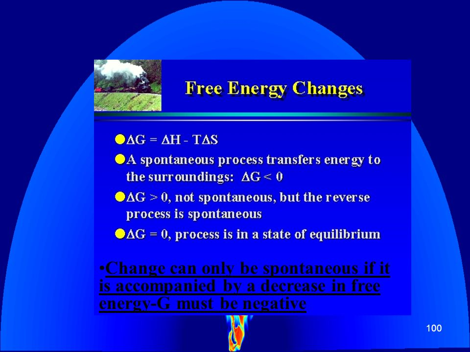 Change can only be spontaneous if it is accompanied by a decrease in free energy-G must be negative