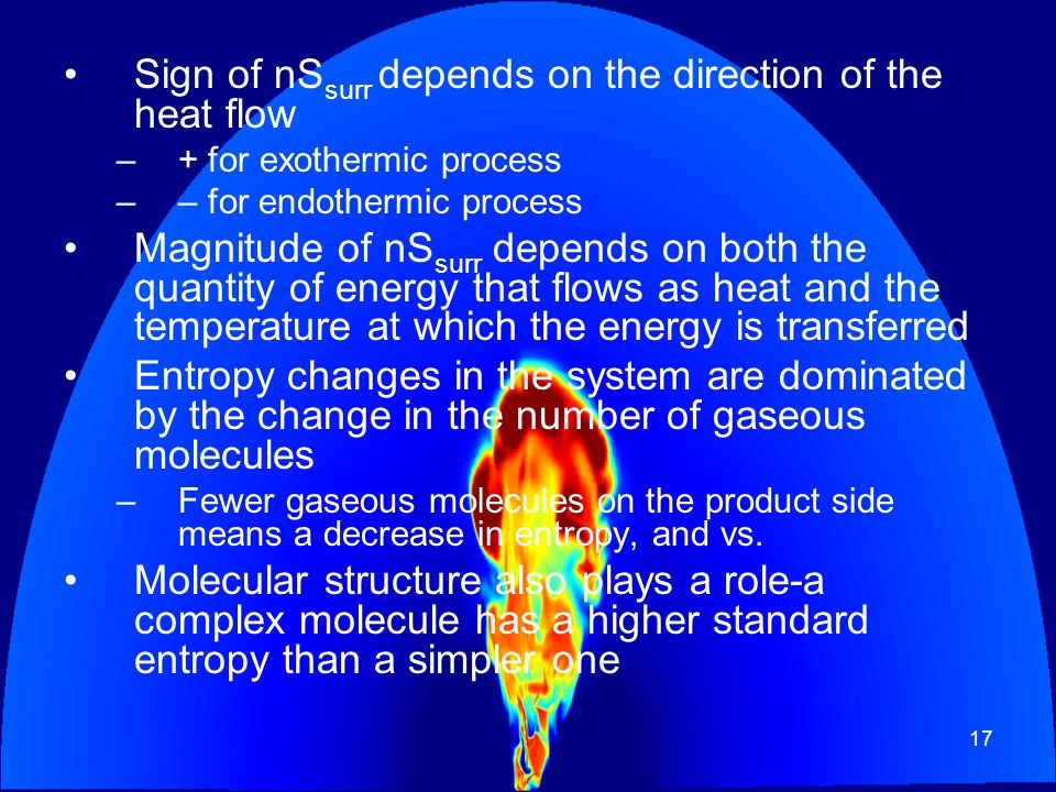 Sign of nSsurr depends on the direction of the heat flow
