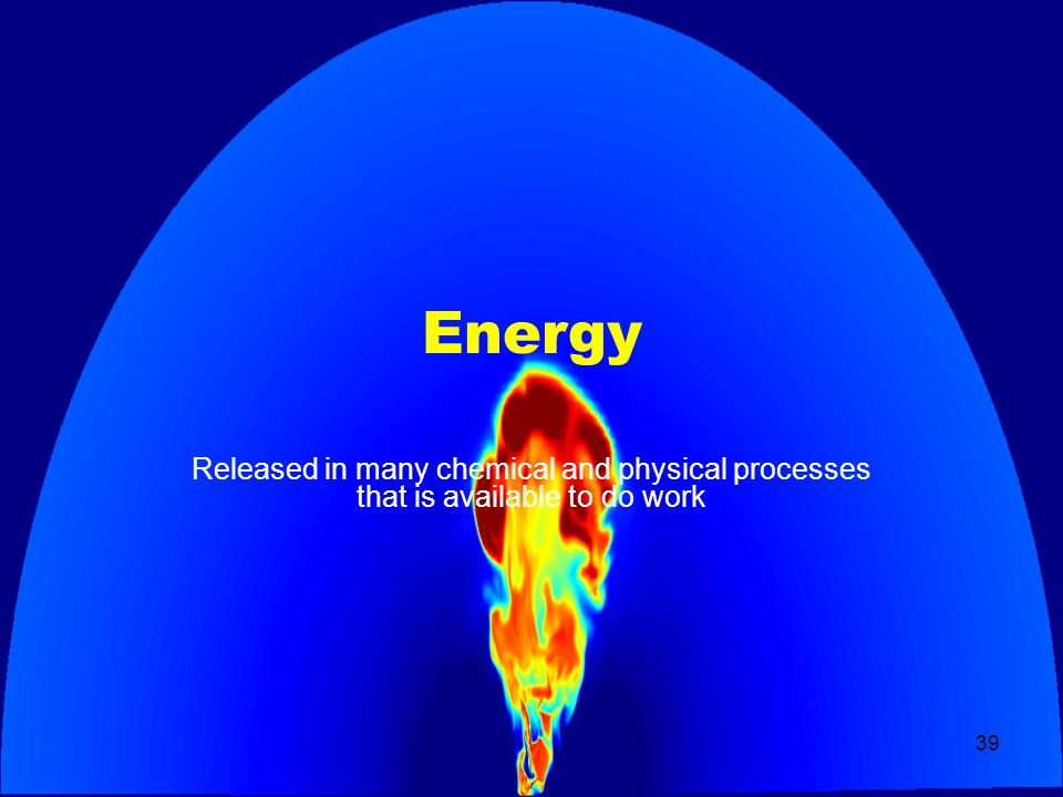 Energy Released in many chemical and physical processes that is available to do work
