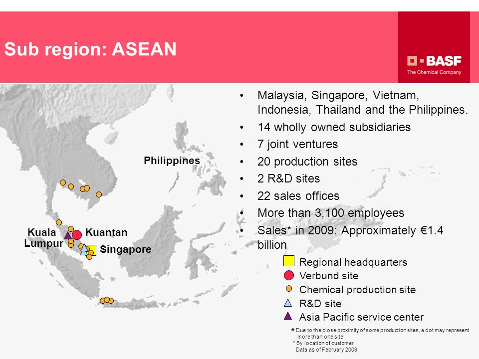 Sub region: ASEAN Malaysia, Singapore, Vietnam, Indonesia, Thailand and the Philippines. 14 wholly owned subsidiaries.