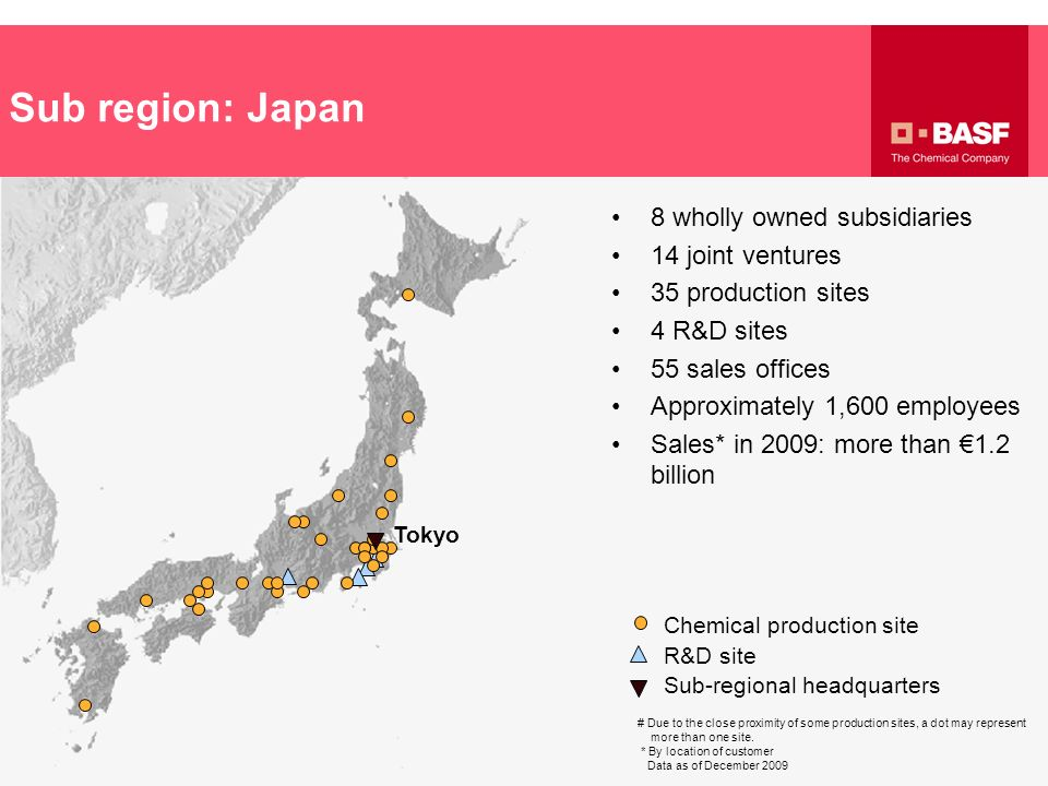 Sub region: Japan 8 wholly owned subsidiaries 14 joint ventures