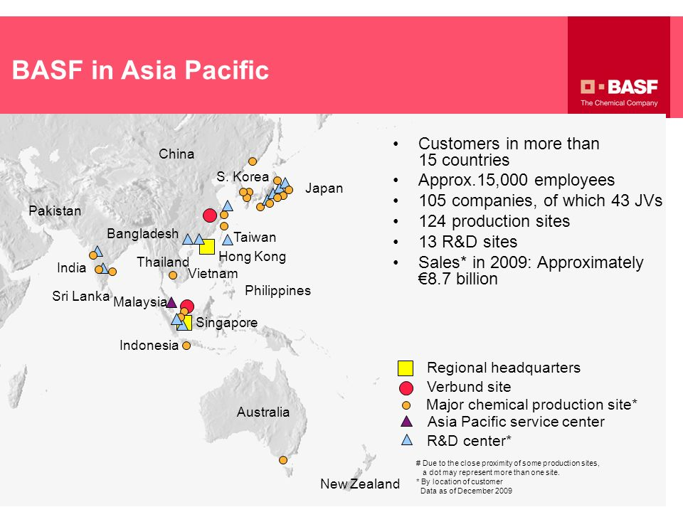 BASF in Asia Pacific Customers in more than 15 countries