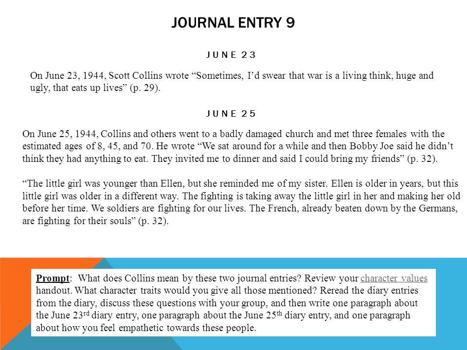 Journal entry 9 June 23.