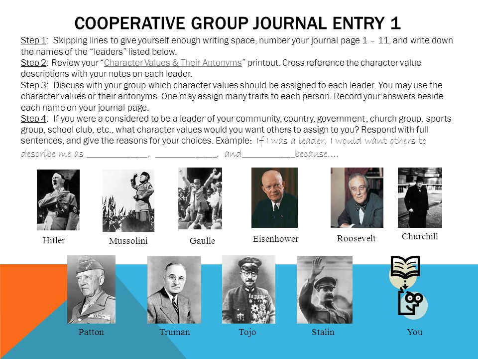 Cooperative group Journal Entry 1