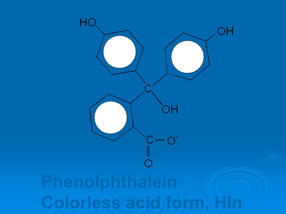 Phenolphthalein Colorless acid form, HIn