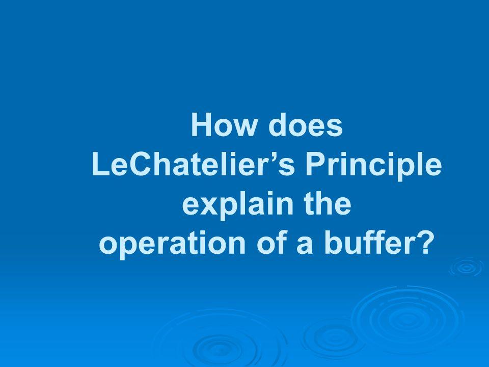LeChatelier's Principle explain the