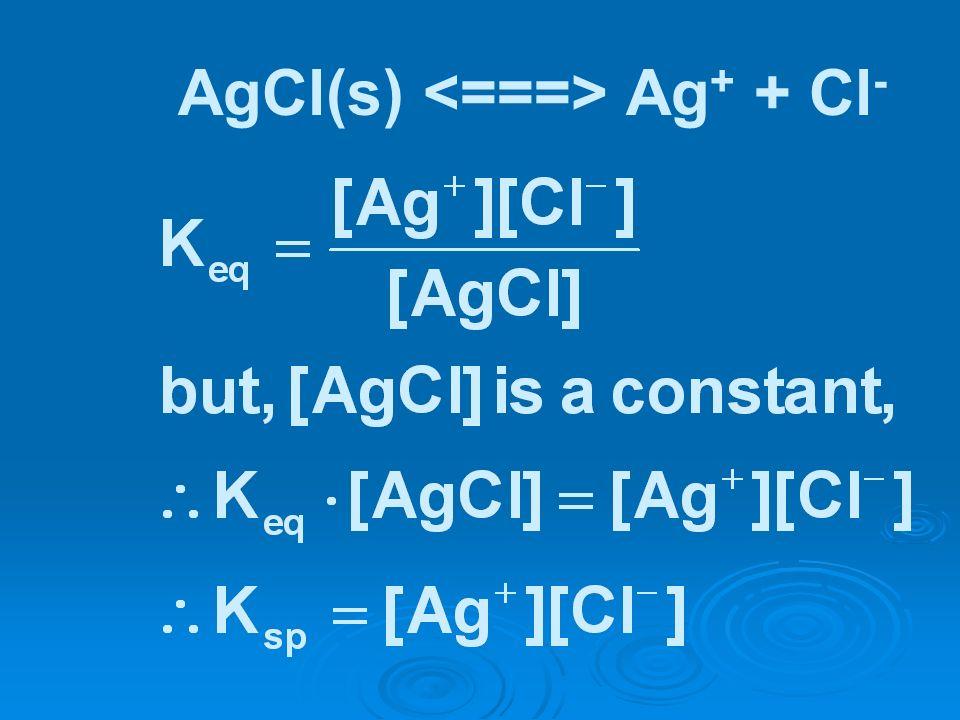 AgCl(s) <===> Ag+ + Cl-