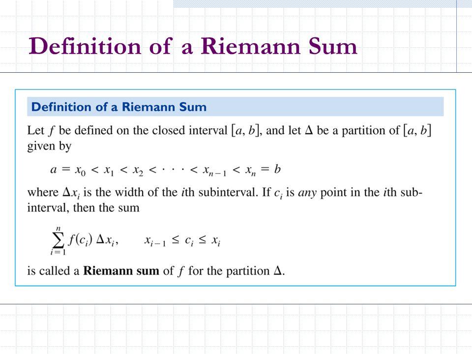 Definition of a Riemann Sum