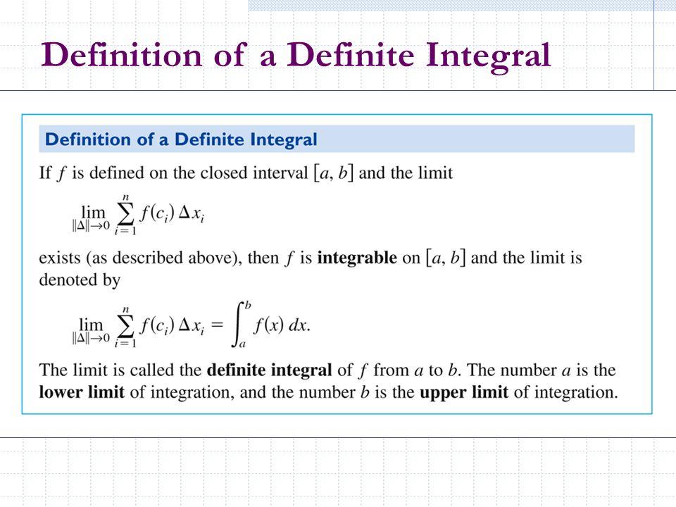 Definition of a Definite Integral