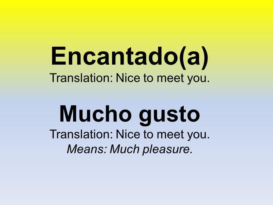 Translation: Nice to meet you.