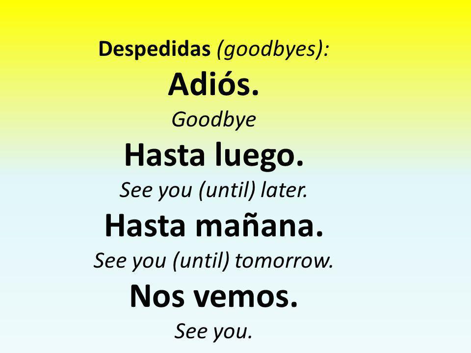 Adiós. Hasta luego. Hasta mañana. Nos vemos.
