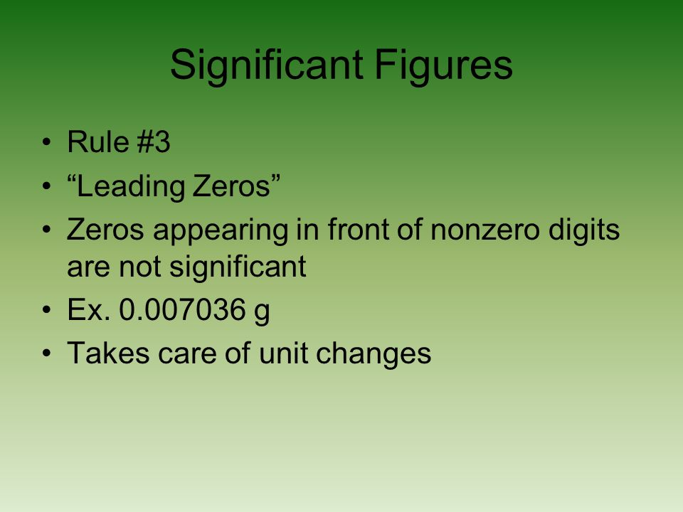 Significant Figures Rule #3 Leading Zeros