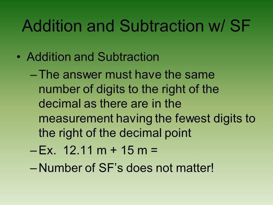 Addition and Subtraction w/ SF