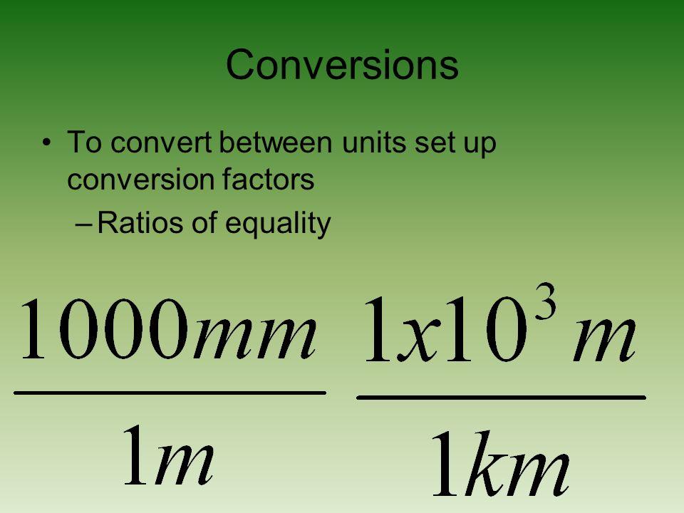 Conversions To convert between units set up conversion factors