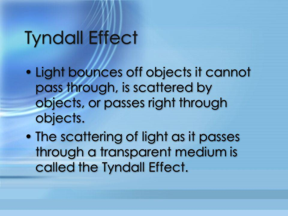 Tyndall Effect Light bounces off objects it cannot pass through, is scattered by objects, or passes right through objects.