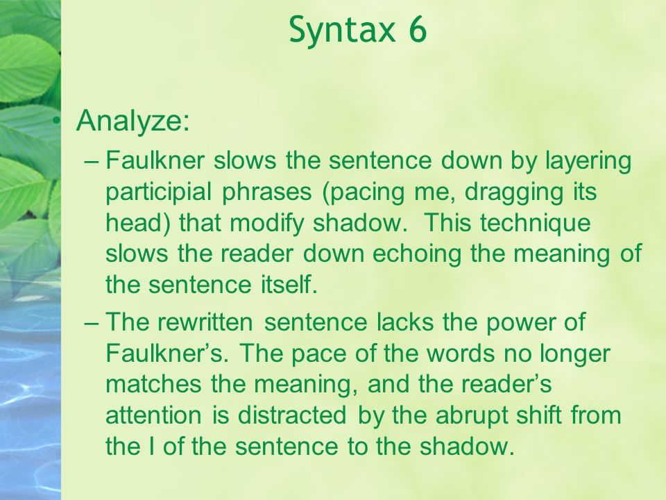Syntax 6 Analyze:
