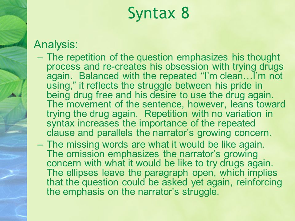 Syntax 8 Analysis: