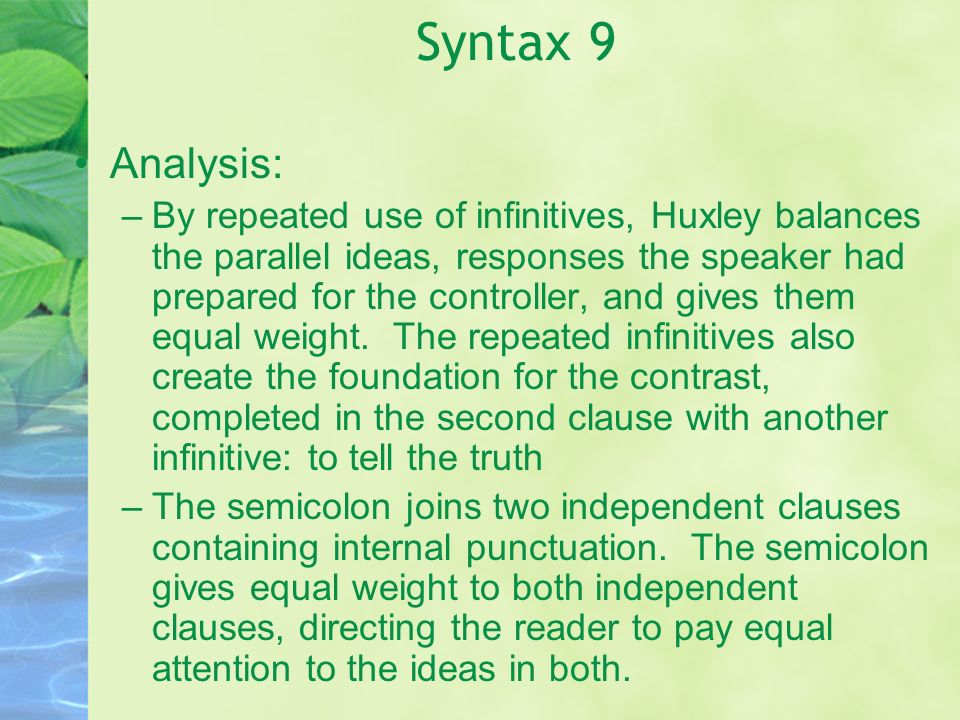 Syntax 9 Analysis: