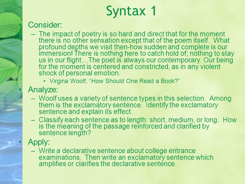Syntax 1 Consider: Analyze: Apply: