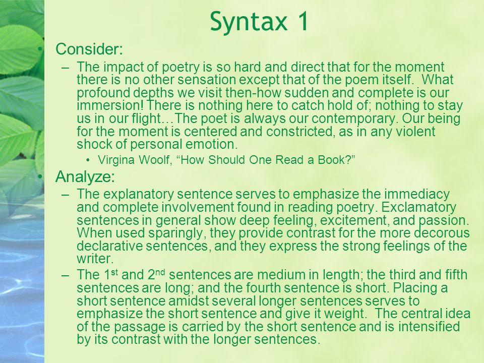 Syntax 1 Consider: Analyze: