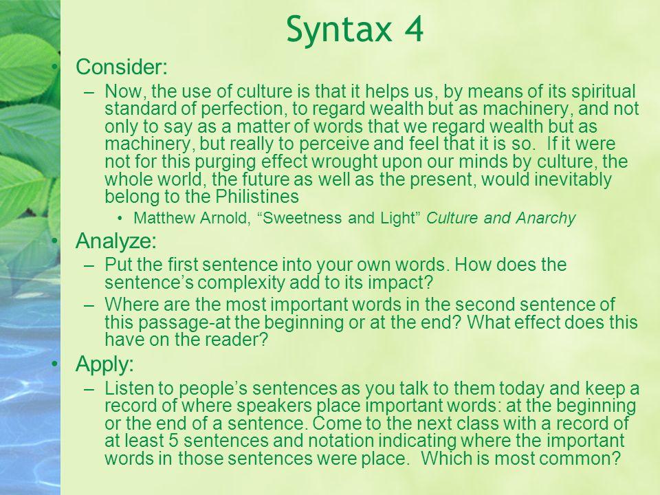 Syntax 4 Consider: Analyze: Apply: