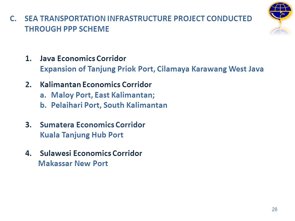 C. SEA TRANSPORTATION INFRASTRUCTURE PROJECT CONDUCTED THROUGH PPP SCHEME