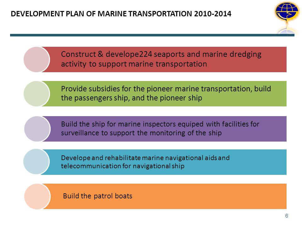 DEVELOPMENT PLAN OF MARINE TRANSPORTATION 2010-2014