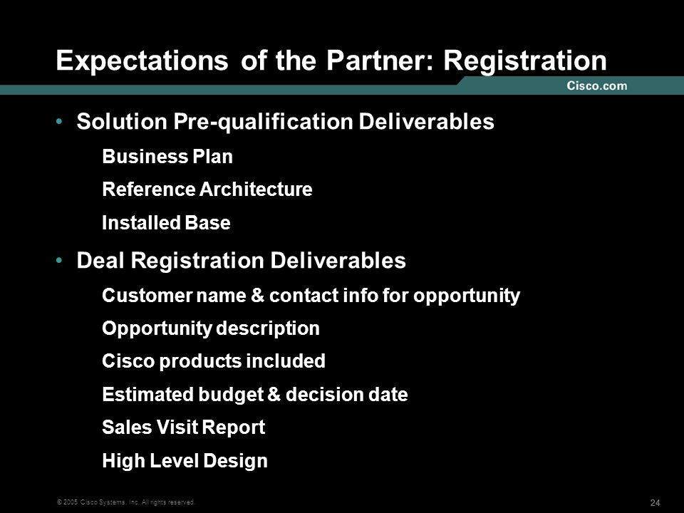 Expectations of the Partner: Registration