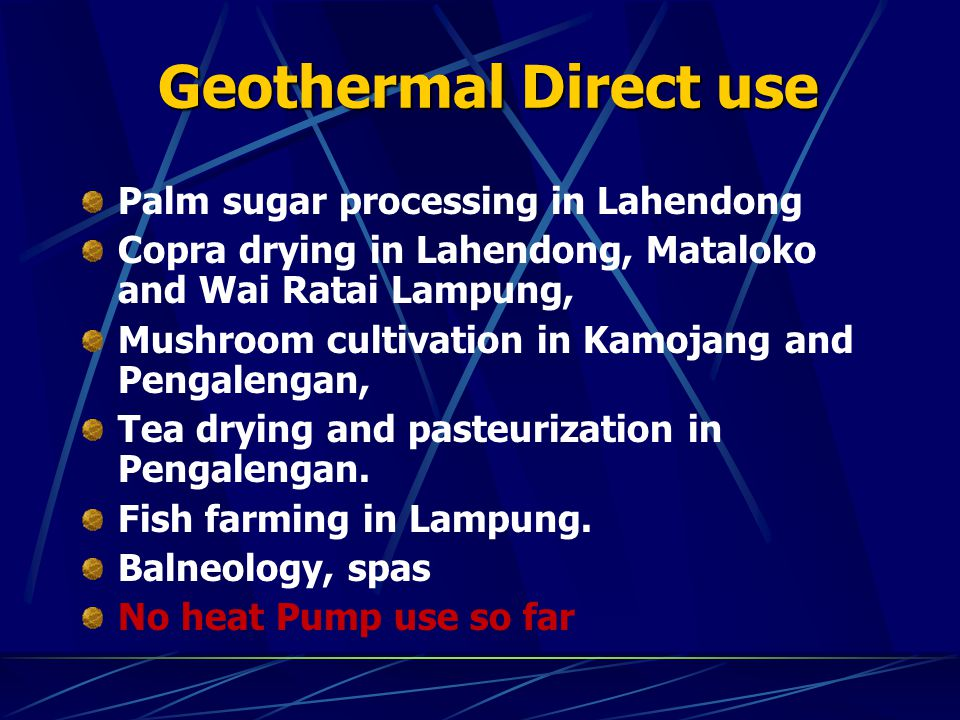 Geothermal Direct use Palm sugar processing in Lahendong
