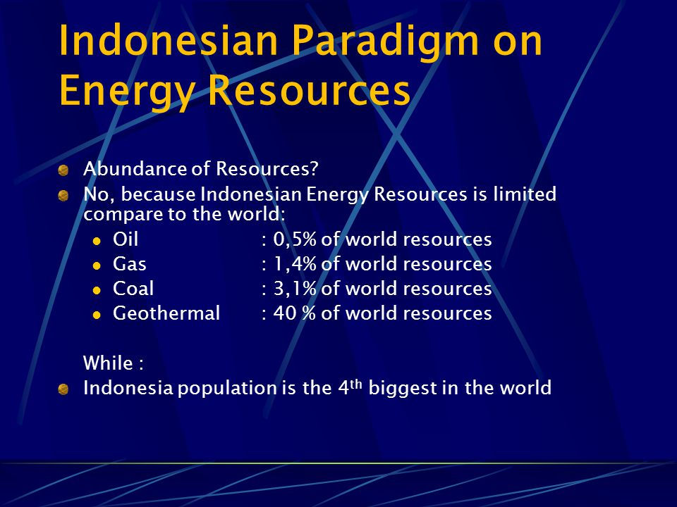 Indonesian Paradigm on Energy Resources