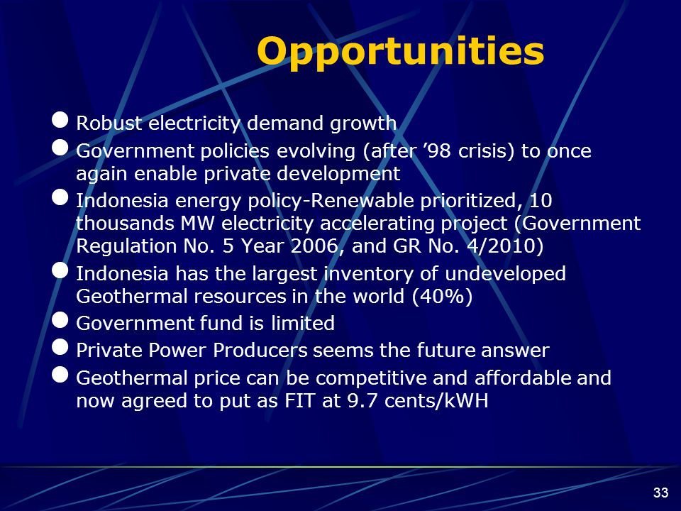 Opportunities Robust electricity demand growth
