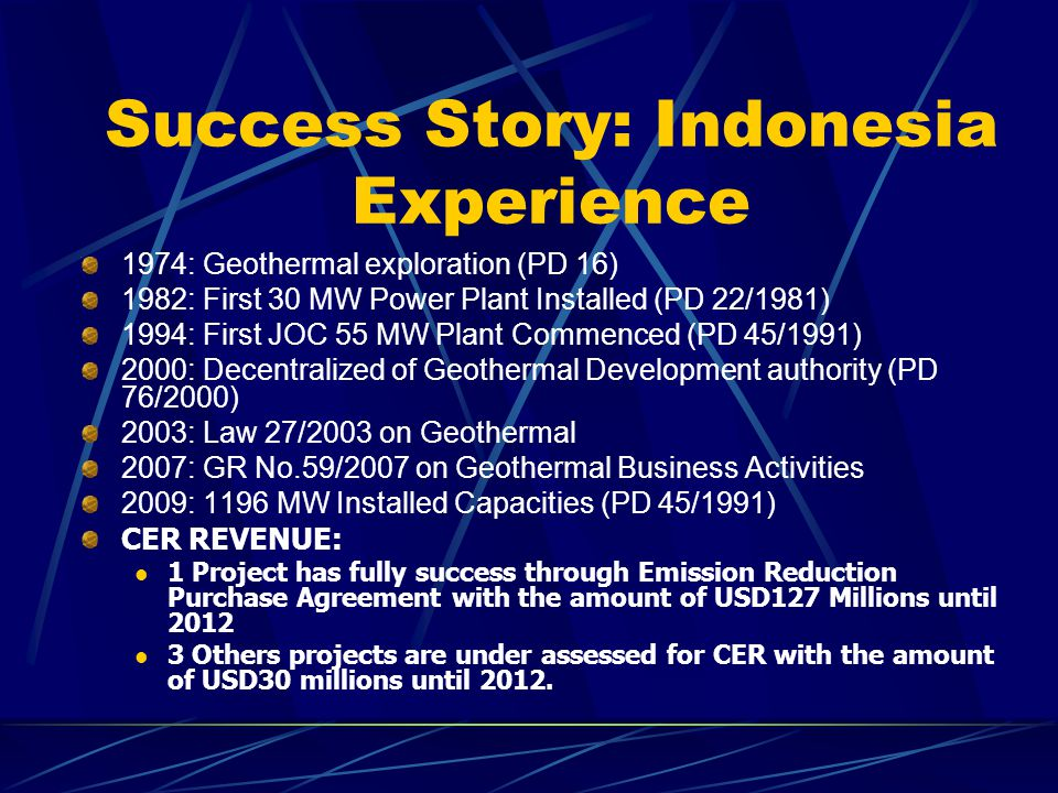 Success Story: Indonesia Experience