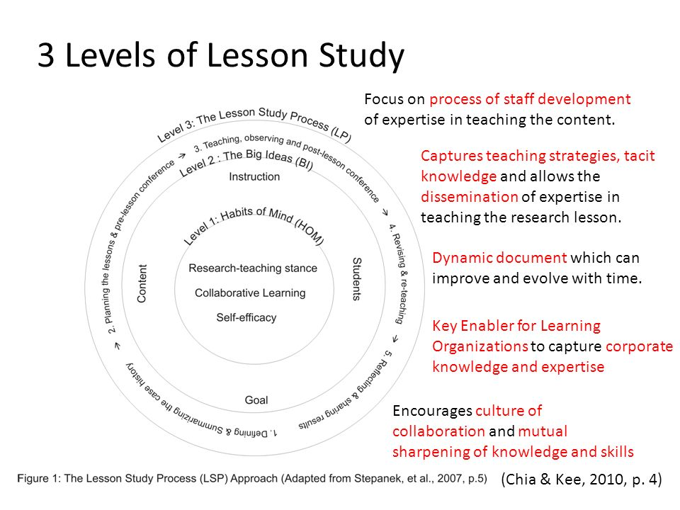 3 Levels of Lesson Study Focus on process of staff development of expertise in teaching the content.