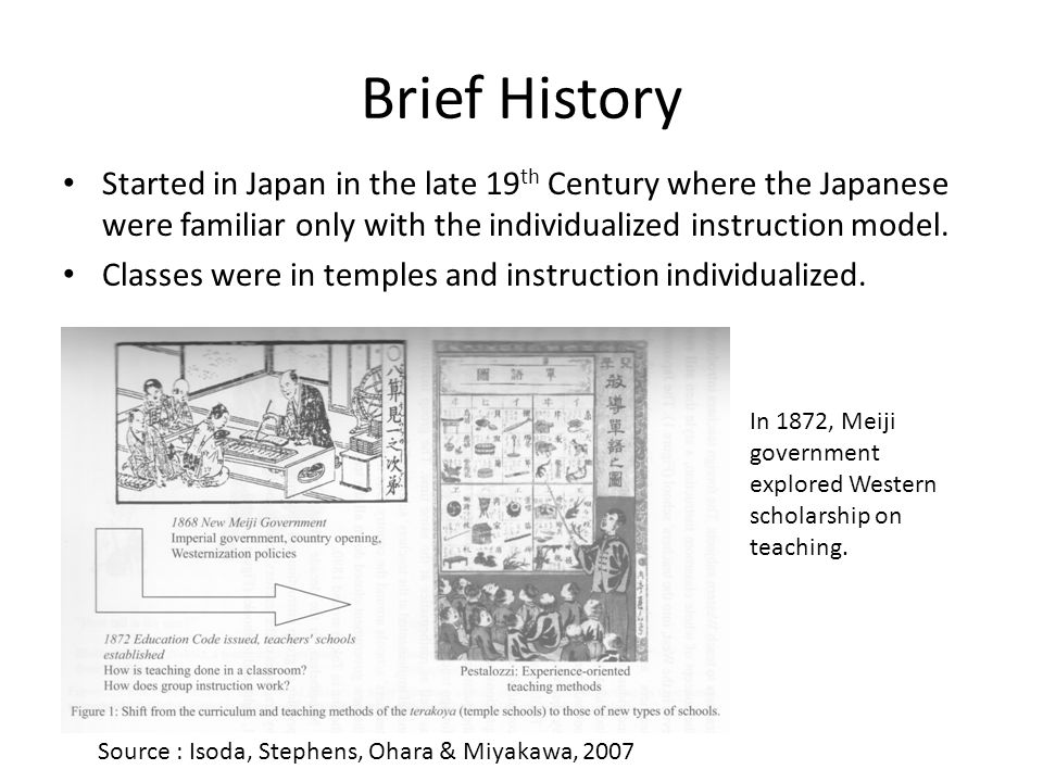Brief History Started in Japan in the late 19th Century where the Japanese were familiar only with the individualized instruction model.