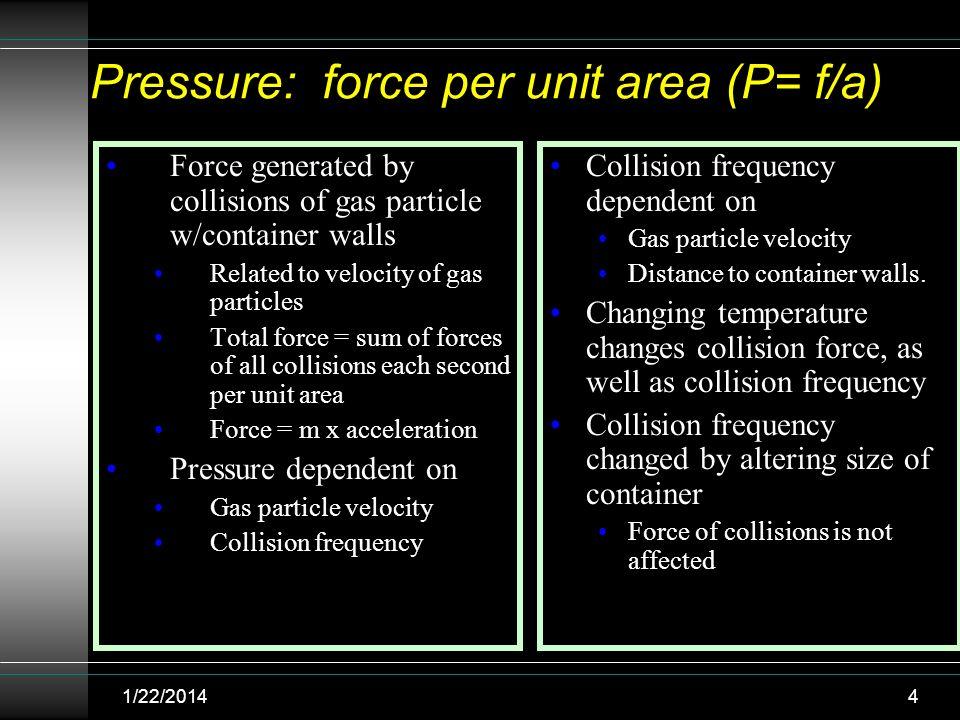 Pressure: force per unit area (P= f/a)