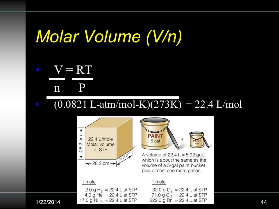 Molar Volume (V/n) V = RT n P (0.0821 L-atm/mol-K)(273K) = 22.4 L/mol