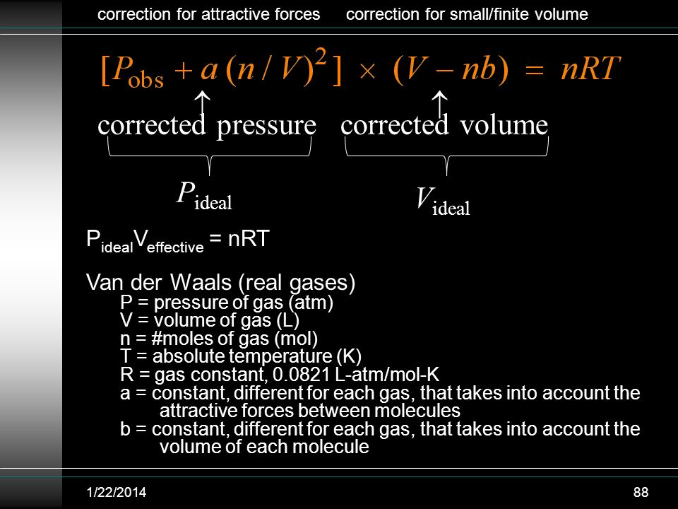   corrected pressure corrected volume Pideal Videal