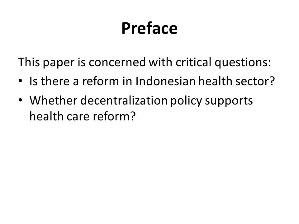 Preface This paper is concerned with critical questions: