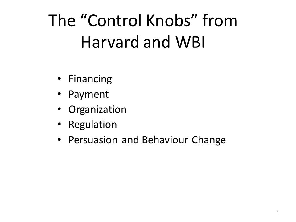 The Control Knobs from Harvard and WBI