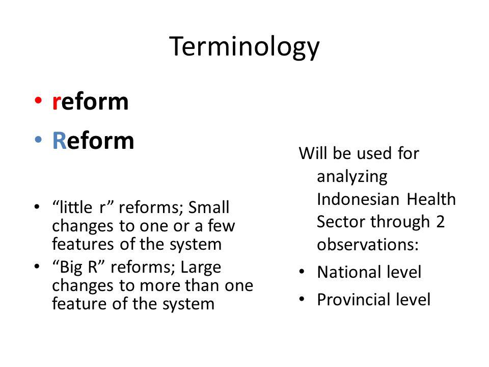 Terminology reform Reform