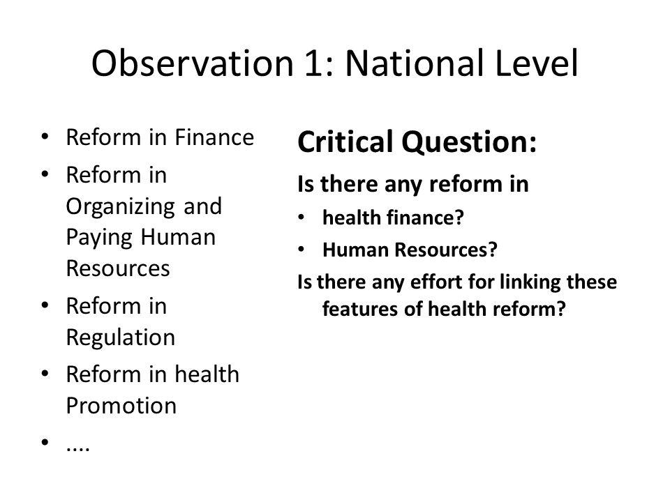 Observation 1: National Level