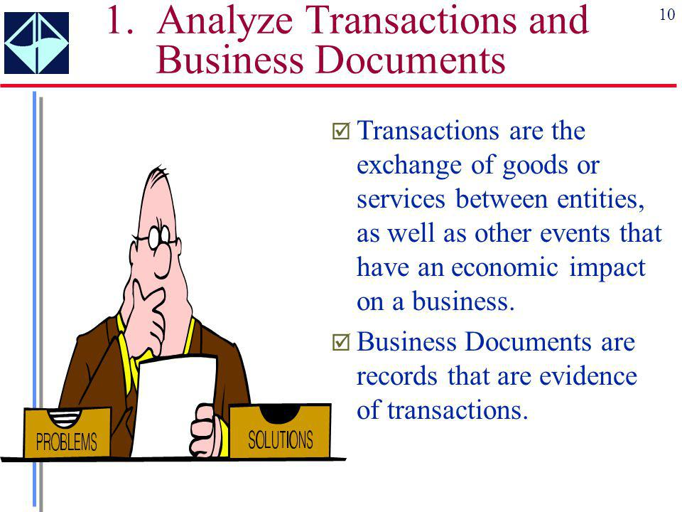 1. Analyze Transactions and Business Documents