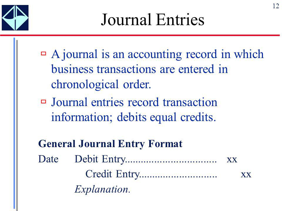 Journal Entries A journal is an accounting record in which business transactions are entered in chronological order.