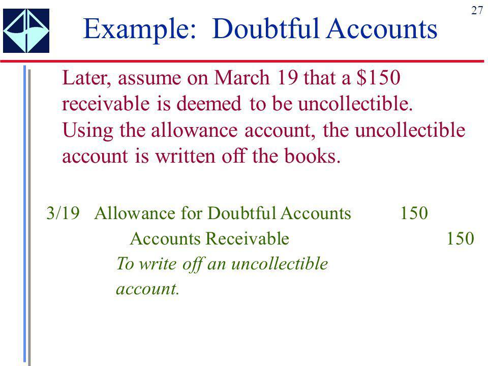 Example: Doubtful Accounts