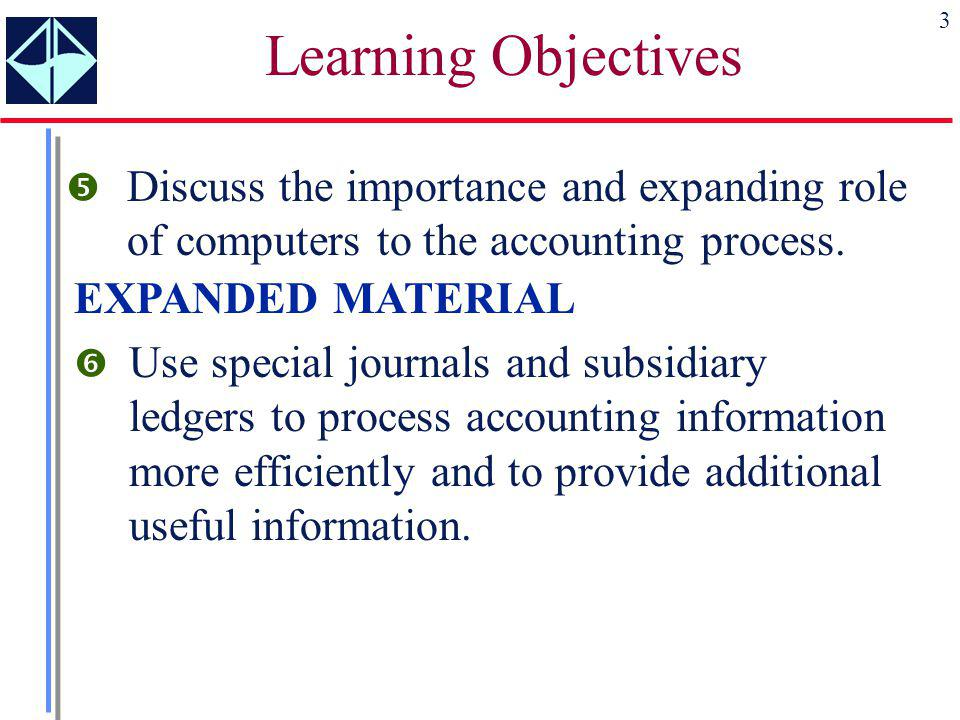 Learning Objectives Discuss the importance and expanding role of computers to the accounting process.