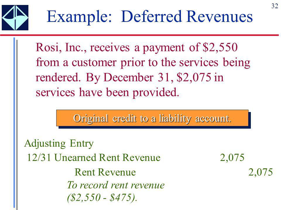 Example: Deferred Revenues