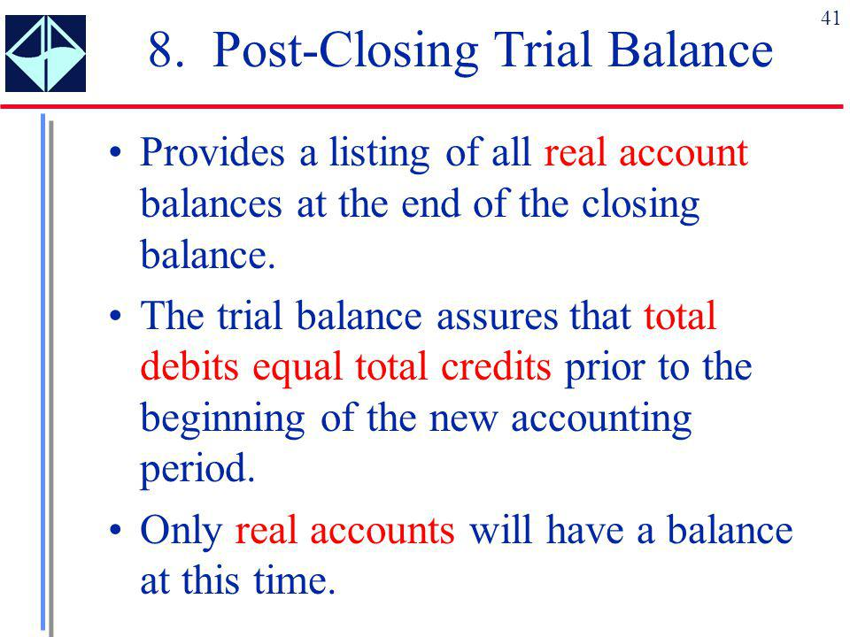 8. Post-Closing Trial Balance