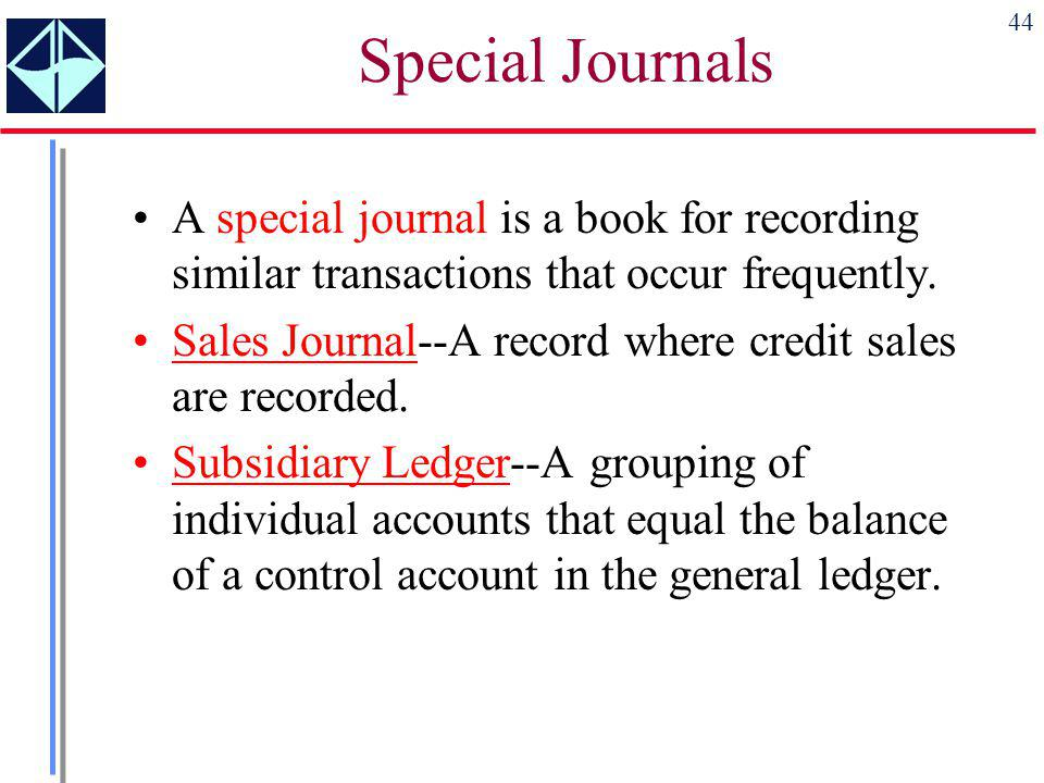 Special Journals A special journal is a book for recording similar transactions that occur frequently.