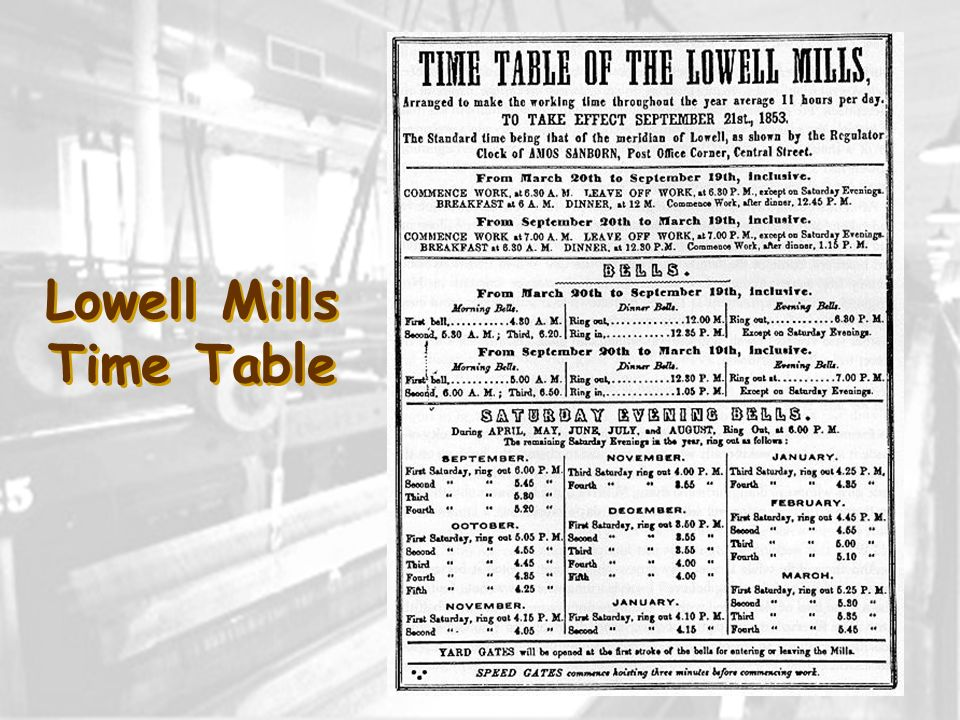 Lowell Mills Time Table