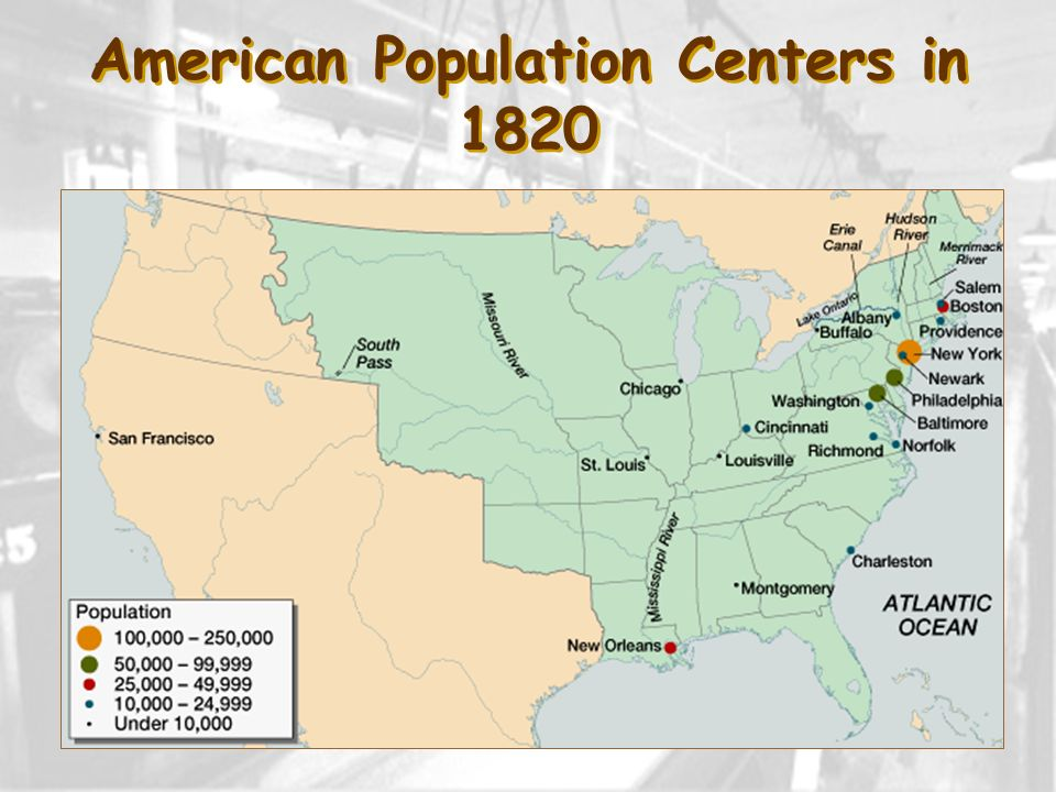 American Population Centers in 1820